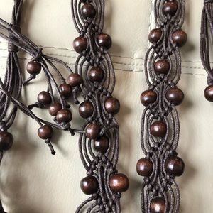 Beaded Rope Tie Belt Brown Macrame Vtg Braided L